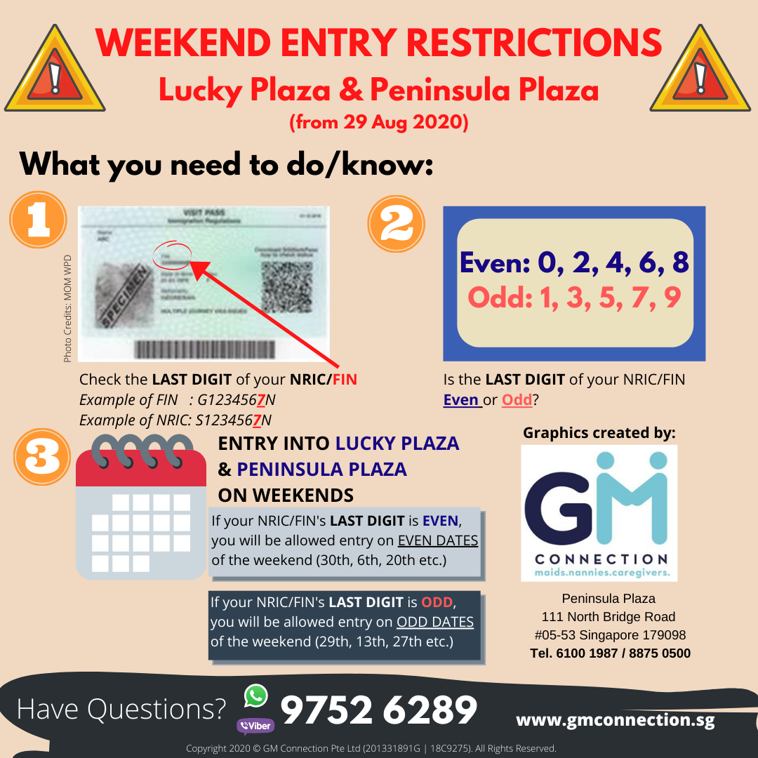 Entry Restrictions to Lucky Plaza and Peninsula Plaza from 29 August 2020